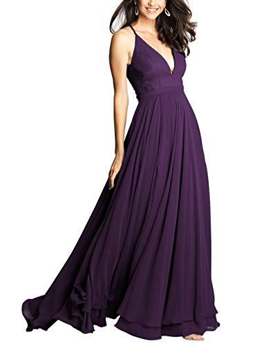 A-line Langen Abendkleid mit V-Ausschnitt Spaghetti Abendkleid Hochzeit für Frauen Lila 48 -