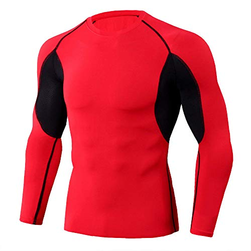 InitialD Rash Guard Männer, Compression Langarm Baselayer T-Shirt @ XL, zum Schwimmen & Surfen, Gym Fitness Workout Top