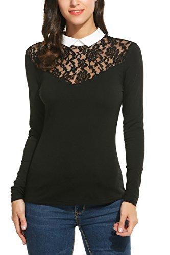 b6b3b30156a4f Zeagoo Damen Shirt Bluse mit Spitze Langarmshirt Spitzenshirt Top Business  Hemd Oberteil mit Kragen