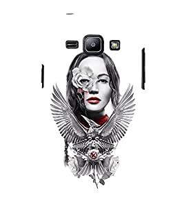 Takkloo white background silver eagle,classy picture, red lips, hot lady) Printed Designer Back Case Cover for Samsung Galaxy J2 J200G (2015) :: Samsung Galaxy J2 Duos (2015) :: Samsung Galaxy J2 J200F J200Y J200H J200Gu