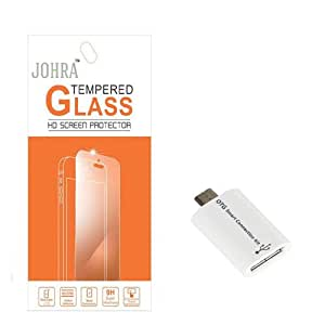 Johra Tempered Glass Screen Scratch Guard Protector With OTG Micro Adapter For Huawei Honor 5C
