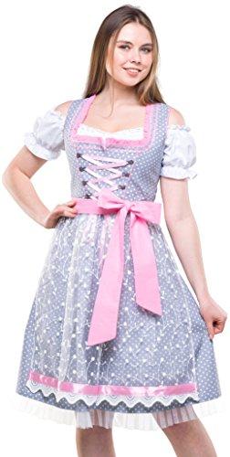 Bavarian Clothes Dirndl Damen Grau Rosa Set 3 TLG. \'6010\' Midi Dirndl mit Weißer Dirndlbluse und Weißer Spitzen-Dirndlschürze (Größe 38)