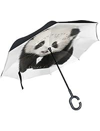 ALAZA Doble Capa invertido Paraguas Paraguas Coches inversa Lindo Panda Prueba a Prueba de Viento UV