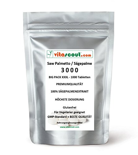 1000 Tabletten Saw Palmetto Extrakt - Sägepalme 3000 - HÖCHSTE DOSIERUNG! - PN: 01101886
