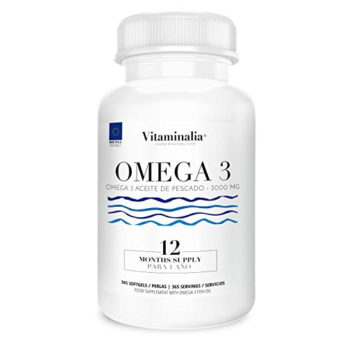 Omega 3 Aceite de Pescado | 1000mg en cada Perla - Suplementación para 1 Año | Ácidos Grasos Esenciales |...