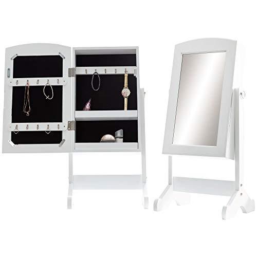 FineBuy Ankleidespiegel 33 x 73 x 27 cm Weiß Schmuckspiegel Stehend | Standspiegel mit Rahmen Klein | Stehspiegel Landhaus Schmuck Aufbewahrung | Kleiner Design Spiegel