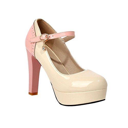 Mee Shoes Damen modern reizvoll Lackleder mehrfarbig Geschlossen ankle strap Schnalle Strass Plateau Pumps mit hohen Absätzen Beige