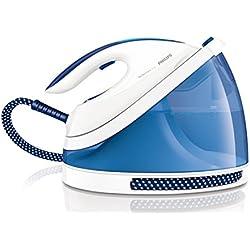Philips PerfectCare Viva GC7038/20 1.7L Suela SteamGlide Plus Azul, Color blanco estación plancha al vapor - Centro de planchado (5,5 bar, 1,7 L, 270 g/min, 120 g/min, Suela SteamGlide Plus, Azul, Blanco)
