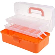 Glive's Medicine First Aid Kit Storage Box Cosmetic Organizer Box With Retracteable Trays and Carry Handle