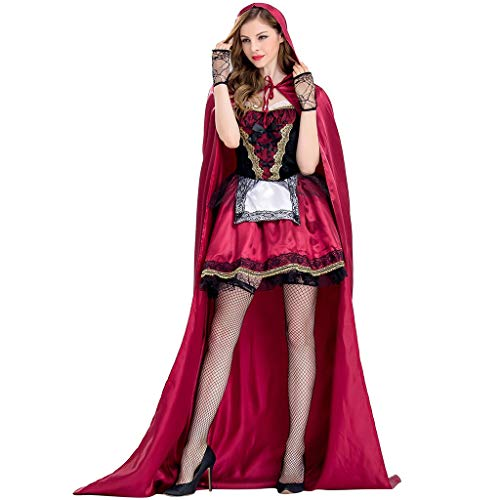 Ni_ka_Halloween Kleidung Plus Size Frauen 3 Stück kleine rote Kappe mit Kapuze Party Kostüm Cosplay - Kleine Rote Plus Für Erwachsene Kostüm