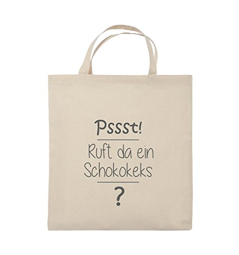 Comedy Bags - Pssst! Ruft da ein Schokokeks? - Jutebeutel - kurze Henkel - 38x42cm - Farbe: Schwarz / Pink Natural / Grau