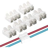 FULARR 62Pcs Conectores Cable Resorte, Conector Resorte Conector Rápido Kit, Conector de Bloque Terminal de Clamp de Cable Eléctrico, para Conectar Tiras de Luz LED –– 50Pcs CH2 + 12Pcs CH3 –– Blanco