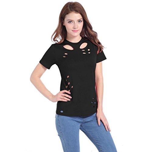 Holeider T-Shirt Damen Mode Aushöhlen Kurzarm Beiläufig Bluse Schwarz