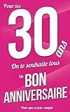 Telecharger Livres Bon anniversaire 30 ans Rose Carte livre d or Pour que ce jour compte 12 7x20cm (PDF,EPUB,MOBI) gratuits en Francaise