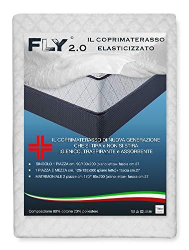 Tex family coprimaterasso elasticizzato fly 2.0 spugna jacquard con angoli - 1 piazza e mezza