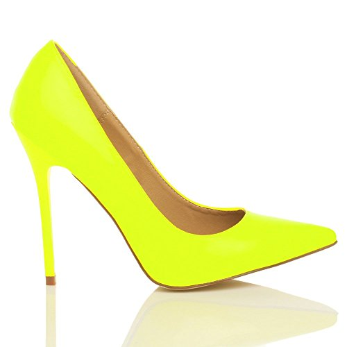 Femmes talon haut fête élégante escarpins de travail chaussures pointue taille Jaune néon