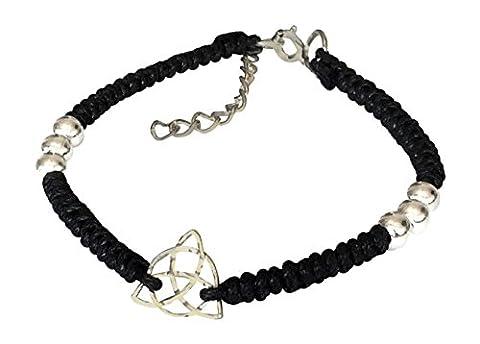 Armband aus Sterling-Silber 925 Keltischer Knoten auf Web-Baumwollband