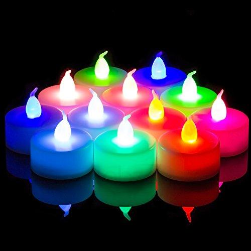 Conjunto de velas parpadeantes Babz® 12 unidades que cambian de color LED, funciona con pilas, parpadea como una vela real, funciona con pilas, velas sin llama, boda té luz