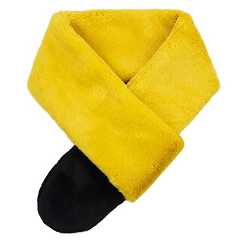 Futrzane sciarpa di pelliccia da donna con coda di cavallo (giallo nero)