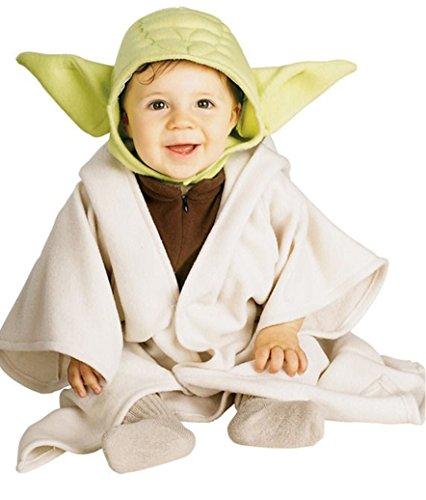 Costume yoda star wars da bebè 1/2 anni travestimento star wars per bambini prodotto ufficiale tunica e copricapo con orecchie verdi di yoda di guerre stellari principessa leila travestimento carnevale halloween cosplay 1/2 anni