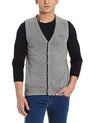 Puma Mens Wool Cardigan (4055263493669_83590001_Medium_Medium Gray Heather)