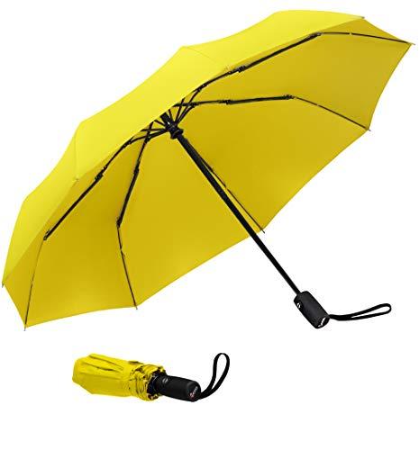 Paraguas de viaje resistente al viento, de secado rápido y apertura y cierre automáticos Amarillo amarillo