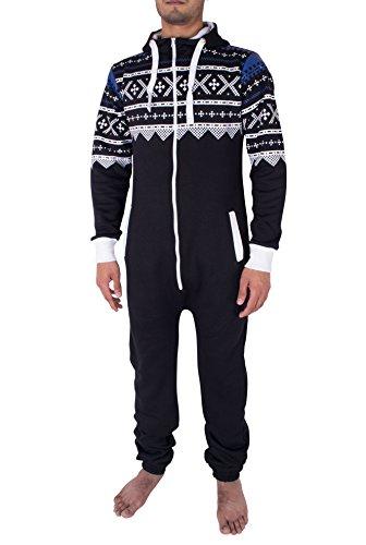 NOROZE Hommes élégant Tout en Un Jumpsuit Onesie Une pièce Pyjamas, Noir, Small
