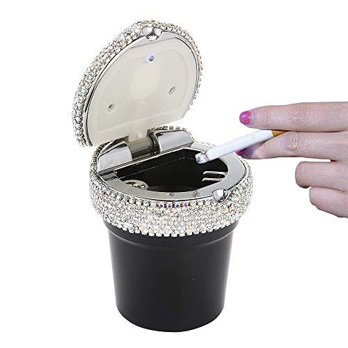 Auto-Aschenbecher Holder Zigarette Aschenbecher Auto Ascher mit LED, Bling Crystal Diamond-Zylinder-Getränkehalter für die meisten Autos (Crystal Zigarette Aschenbecher)