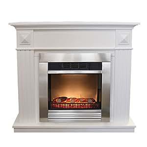 elektrischer led kamin edelstahl umrandung 110x96x36cm wei grundiert k che haushalt. Black Bedroom Furniture Sets. Home Design Ideas