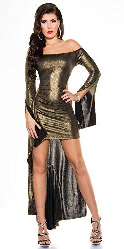 Costume rückenfreies kouCla high-low-robes de soirée métallique k1081 (différents coloris) Or - 4 Gold