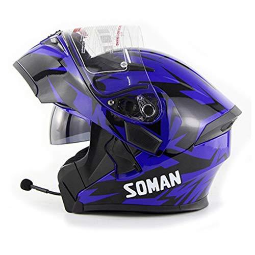 Bluetooth Motorradhelm mit Mp3 Walkie Talkie Helm Motorradhelm Solar Schutzhelm Lila,M