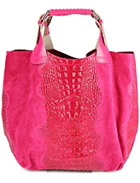 BELLI® exclusive ital. Leder Handtasche Leder Kroko Mix - Freie Farbwahl - 41x32x15 cm (B x H x T)