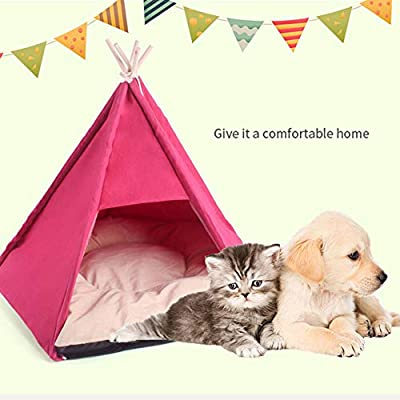 MALY Pet Tent,Small Canvas Pet Tent Indian Wooden Hut Cat Pad Kennel Removable Washable Dog Bed with Cushion by MALY