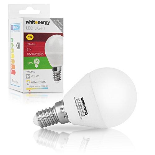 WHITENERGY E14 / B45 5 W Led Lampe, 396 lm, vergleiche 35 - 40 W Glühlampe, 3000 K, Neuste Generation LED, Typ 10x SMD 2835 Leuchtmittel 160 Grad, Abstrahlwinkel - B45 Mini Globe, warmweiß 10130