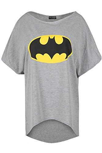 (Be Jealous Damen Frauen Ausgebeult Übergröße Batman Lagen Schau Batwing Ärmel Hoch niedrig T-Shirt Oben)