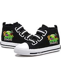 FONLONLON Plants vs. Zombies Banda elástica Peso Ligero de los Zapatos de Lona de impresión Alto-Top Zapatos Zapatos de la Zapatilla Zapatos Planos (Color : Black04, Size : EU38 US7M)