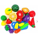 Oytra Colorful Fruit Slice Set For Kids | Set Contains : 10 Different Fruits + 1 Chopping Board + 1 Knife + 1 Plate | Learning Toy For Kids
