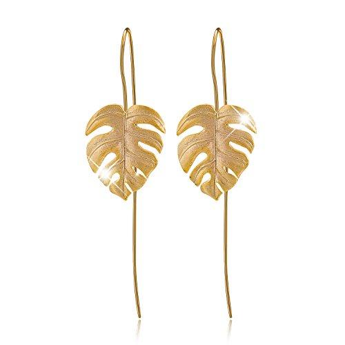 Lotus Fun S925 Sterling Silber Tropfen Ohrringe Monstera Blätter Ohrringe Ohrstecker für Damen, Handgemachte Einzigartige Schmuck (Gold)