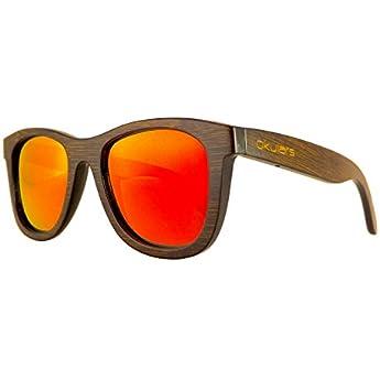 Okulars Dark Bamboo Sunlight - Occhiali da Sole in Legno di Bambù Naturale Uomo e Donna, Fatti a Mano - Taglia Unica - Lenti Polarizzate a Specchio Rosse - Protezione UV400 - Cat.3 (Rosso)