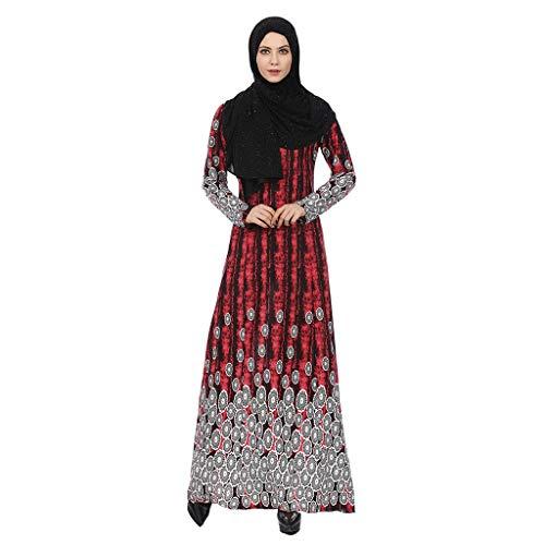 Amlaiworld  Damen-Hoher Taillenrock, Muslimischer Frauenfrühling Neuer reizvoller ethnischer Artrock weiblicher Frühling(rot,M)