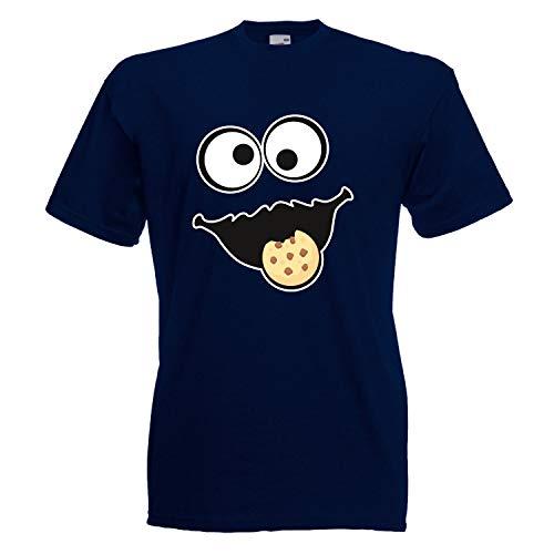 Shirt-Panda Herren Unisex T-Shirt Keksmonster Krümelmonster Gruppen Kostüm Karneval Fasching Verkleidung Party JGA Deep Navy 3XL