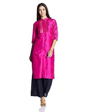 W for Woman Women's Straight Kurta (17AU16998-65645_Pink_6)