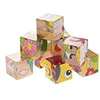seawood SWIDUUK 6 Sided 9Pcs/Set Colorful Cartoon Animal Pattern Design 3D Puzzle Toy, Wooden Durable Delicate Workmanship Kids Gift/Party Educational Interactive Toy