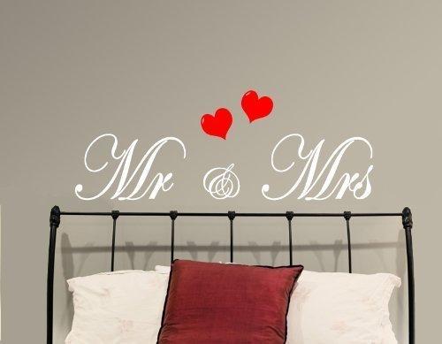 """Wandaufkleber, Schriftzug """"Mr & Mrs"""", Vinyl, Schlafzimmer, Wandtattoo, Hochzeitsgechenk, 24 Farben zur Auswahl"""
