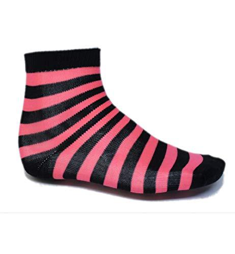 KarnevalsTeufel Socken gestreift Ringelsocken gestreifte Strümpfe Karneval Mottoparty (schwarz/pink) - Schwarz Gestreifte Stulpen
