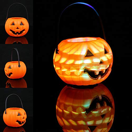 Mobestech Halloween Tragbare Kürbislaternen Halloween Barrel Candy Jar LED Laterne Licht Requisiten Party Supplies für Kinder (Jar Halloween Laternen)