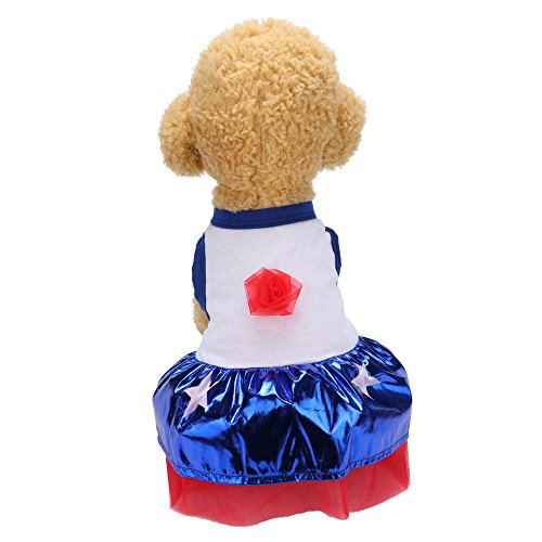 Goldatila Pet Kleidung Pet Rock Frühling und Sommer Rose Star Blue Rock Kleid Hund Kostüme Haustier Kleidung