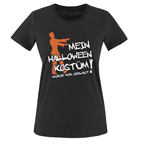 Comedy Shirts - MEIN HALLOWEEN KOSTÜM WURDE MIR GEKLAUT ZOMBIE - Damen T-Shirt Schwarz / Weiss-Orange Gr. (Kostüm Zombie Wanderer)