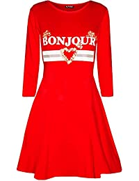 6172792dd5 Be Jealous Womens Ladies Celebrity Inspired Long Sleeve Bonjour Printed  Swing Mini Dresses UK Plus Size