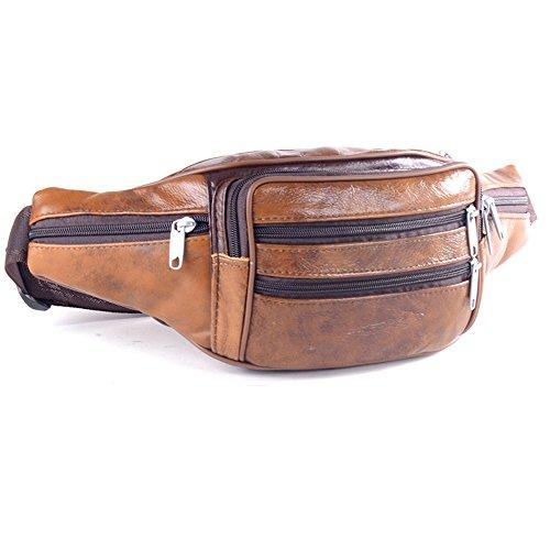 Wewod Riñoneras de Cuero para Hombre,Riñoneras Grandes de Moda,Riñonera Cinturón,Bolso de la Cintura 21 x 14 x 13 cm (L*H*W) (Marrón)